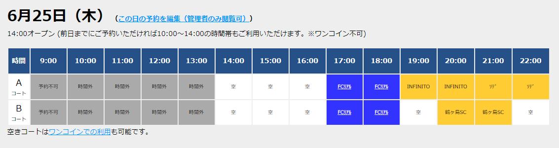 6/25(木)コート情報!