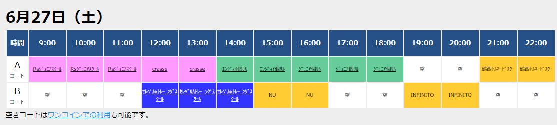 6/27(土)コート状況!