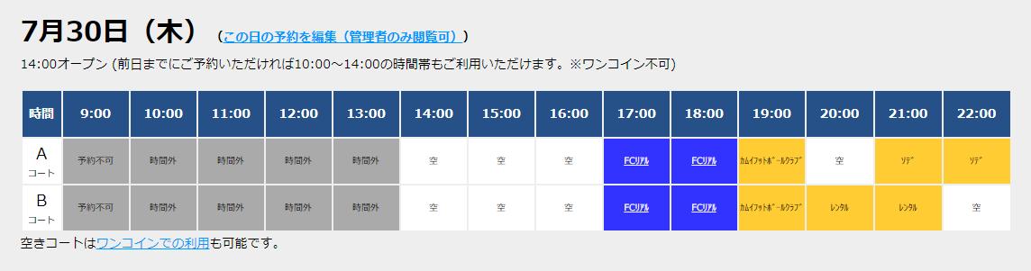 7/30(木)コート情報!