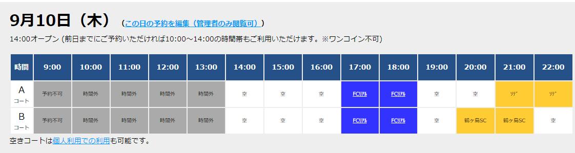 9/10(木)コート情報!